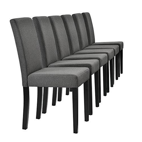 [en.casa] Set de 6 sillas de Comedor Elegantes tapizadas de Tela Gris - 90 x 42cm sillas de diseño