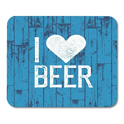 Mouse Pads Bavarian I Love Beer October Fest Blue Wooden Holiday Party Celebration Dirty Mouse pad 9.5