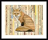 Framed Wall Art Print Red Fox Collage II by Nikki Galapon 30.00 x 25.12 in.