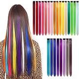 Extensiones de cabello Yunsi 24 piezas coloridas y lisas, con clip de arcoíris multicolor para...