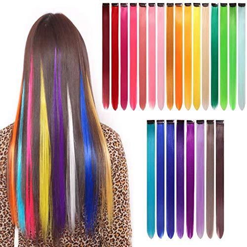 Extensiones de cabello Yunsi 24 piezas coloridas y lisas, con clip de arcoíris multicolor para pelucas, pelucas para mujeres y niñas, regalo de 55 cm, accesorios de fiesta para niños (24 colores)