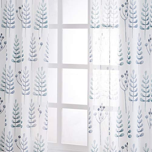 TERLYTEX Sheer Linen Curtains 84 Inch Long - Faux Linen Textured White Sheer Curtains Printed with Ash Tree Branch Leaf Pattern for Bedroom, Grommet Semi Sheer Curtains, 52x84 Inch, 2 Pcs, Green Gray