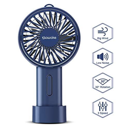 SAWAKE Handventilator Mini Ventilator USB, elektrisch Handy Ventilator für Reisen, Büro, Zuhause, Draußen, Innen (148g, 15° drehbareres Design, USB aufladbar, verstellbar, Batterie, Schlüsselband)