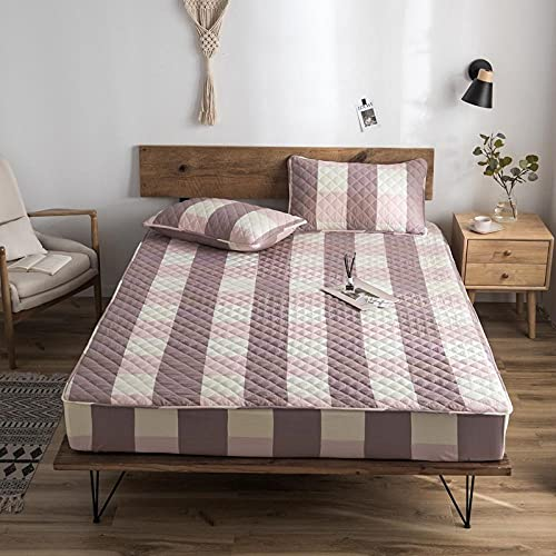 CYYyang Protector de colchón de bambú Funda de colchón y Ajustable Una Sola Pieza de sábana Gruesa-4_150 * 200cm