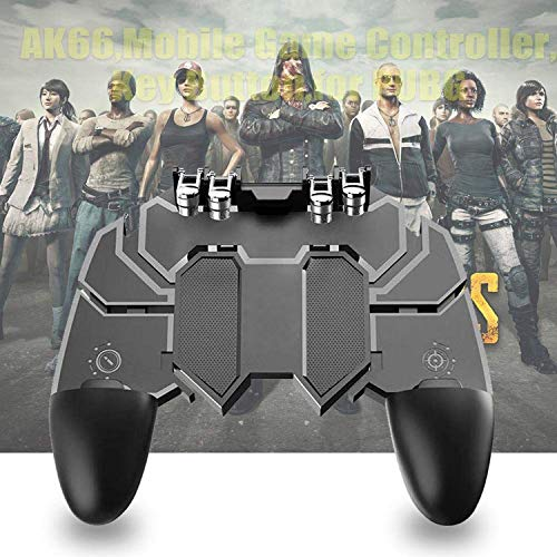 Gadgets Appliances AK66 Six Finger All-in-One Mobile Game Controller Fire Key Button for PUBG (Black)