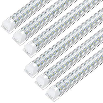 JESLED 8FT LED Shop Light, Integrated T8 LED Light Fixture, 72W 7200LM, 5000K Daylight White, Plug in Warehouse Garage Lights Lighting, Linkable, V Shape, High Output with On/Off Switch (6-Pack)