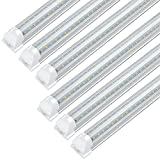 JESLED 8FT LED Shop Light Fixtures - 72W 7200LM, 6500K (Super Bright White), 8 Foot T8 LED Tube Light Fixture for Garage Warehouse, V Shape, High Output, with On/Off Switch, Plug and Play (6-Pack)
