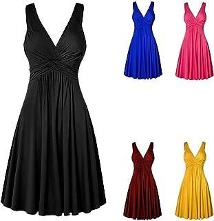 Vestido feminino plus size com decote em V, retrô, plissado, saia rodada, vestido de sol para mulheres, festa casual