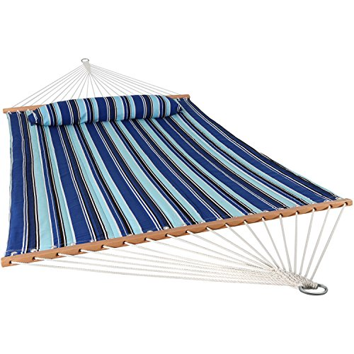 Sunnydaze Quilted Fabric Hammock Two Person with Spreader Bars Heavy Duty 450 Pound Capacity, Catalina Beach