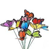 27 Stücke Bunte Garten Schmetterlinge Ornamente auf Stöcke 12 cm Schmetterling Stakes Dekorationen für Terrasse Rasen Outdoor Schmetterlinge Dekoration, 9 Farben