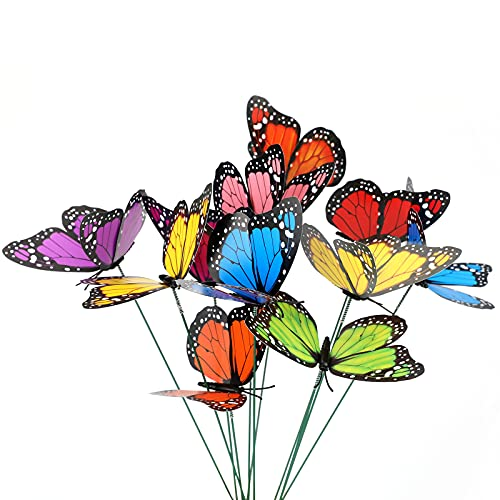 KINGLAKE Butterfly Garden Stakes Yard Planter Colorful Butterfly Garden Ornaments Decorations for Garden Patio Party Decorations 27 Pcs Set