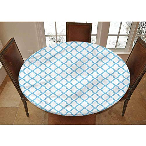 LCGGDB Quatrefoil Elastic Edged Polyester Fitted Tablecolth -Blue Ikat Trellis- Small Round Fitted Table Cover - Fits Tables up to 40-44' Diameter,The Ultimate Protection for Your Table