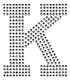 Bügel-Strass Buchstaben Aufnäher Patches groß für Jacken Cap Hosen Jeans Kleidung Stoff Kleider Bügelbilder Sticker Applikation Aufbügler zum aufbügeln Silber K 8,5 cm