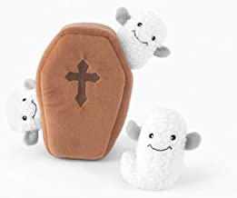 ZippyPaws - Halloween Burrow Interactive Squeaky Hide and Seek Plush Dog Toy - Coffin with Ghosts