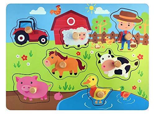 Holzpuzzle Bauernhof - Hochwertige Steckpuzzle fur Kinder ab 1 Jahr