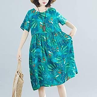 ZCLAU Summer Korean Version of Cotton Print Loose Long Section was Thin Dress (Color : Green, Size : Plus-Size XL)