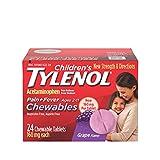 Children's Tylenol Chewables, 160 mg Acetaminophen for Pain & Fever Relief, Grape, 24 ct