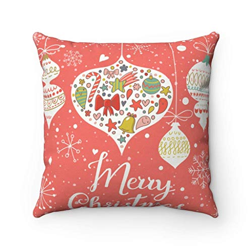 N\A Feliz Navidad, Funda de Almohada con Luces navideñas, Funda de Almohada Cuadrada Decorativa, Funda de cojín de Navidad, Funda de Almohada, Regalo