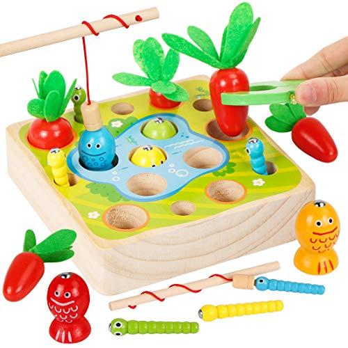 O-Kinee 3-in-1 Angelspiel aus Holz, Holzspielzeug Montessori, Baby Motorik Spielzeug für Jungen und Mädchen, Fische Angeln Spiel Holzspielzeug, Geschenk für Kinder Kleinkind ab 2 3 Jahre