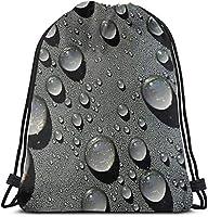 女性のための黒い水滴のドローストリングのバックパックのショルダーバッグの軽量36 x 43cm