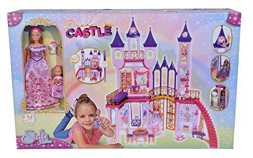 Simba 105733245 - Steffi Love Dream Castle / Steffi und Evi in ihrem dreistöckigen Schloss / mit Schaukel / mit Möbeln und viel Zubehör / 40 Teile / 102x90x38cm, für Kinder ab 3 Jahren