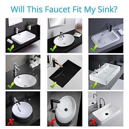 Wovier Brushed Nickel Bathroom Sink Faucet with Supply Hose,Unique Design Single Handle Single Hole Lavatory Faucet,Basin Mixer Tap Commercial