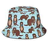 136 Divertido sombrero de pescador con diseño de nutrias, unisex, reversible