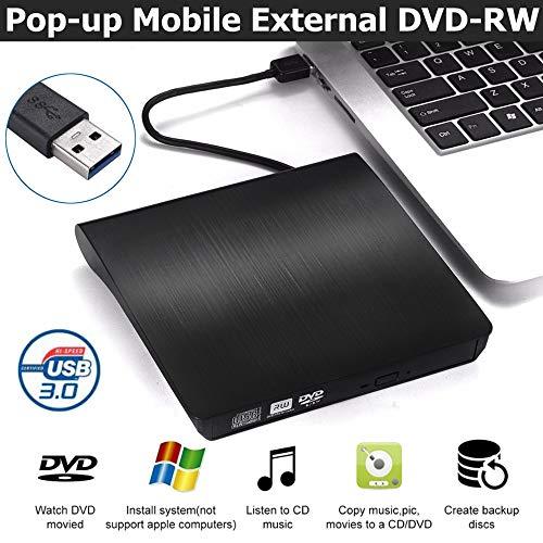 QueenDer Masterizzatore Lettore Dvd CD Esterno USB 3.0 Drive CD-RW Dispositivo Lettore Schede Portatile Ultra Slim Nero External Disc Read CD Computer/Laptop Dvd per Windows10/8/7
