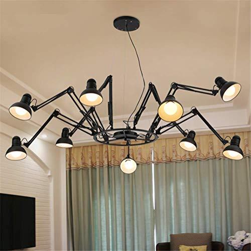 MJY Lustre Industriel Rétro Style Loft Araignée Suspension 9 Têtes Bras de Lampe Télescopique Réglable Noir Plafond En Fer Forgé Pendentif Lumière qwertyuipkg
