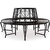 Deuba Banco circular de 360° de jardín acero lacado Negro
