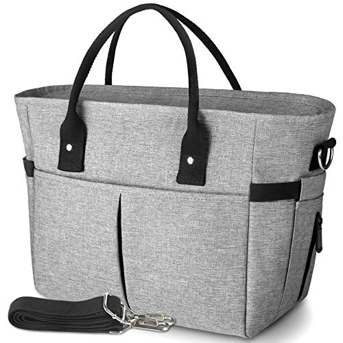 KIPBELIF Insulated Lunch Bags for Women - Large Tote Adult Lunch Box for Women with Shoulder Strap, Side Pockets and Water Bottle Holder, Gray, Normal Size