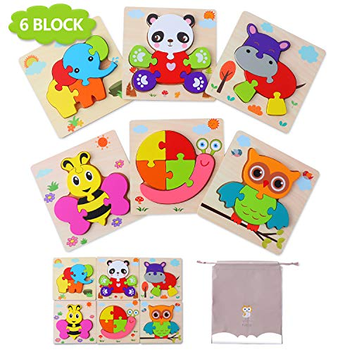 Puzzles de Madera Juguetes Bebe 1 2 3 años, Animal Puzzles 6 Piezas, Rompecabezas de Madera Set Montessori niños Inteligencia Juguete, Regalos de Cumpleaños Navidad para niños(6 Pack)