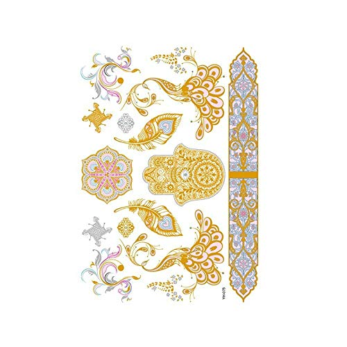 Autocollants de tatouage bronzage rétro autocollants de tatouage imperméables ensemble autocollants d'impression de couleur argent chaud-YH-075_148 * 210MM