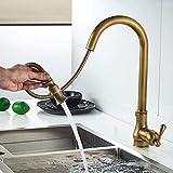 Fregadero de cocina Tapstapsantique Grifos de cocina de bronce Extraíble Fregadero caliente y giratorio Grifo de agua de 360 grados Mezclador de agua Grifos mezcladores