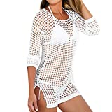 Kanpola Strandkleider Damen Crochet Stricken Bikini Cover Up Luftige Sommerkleider Bluse Elegant HäKelkleid Beachkleider