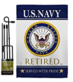 Breeze Decor US Navy Garden Flag Set with Stand Armed Forces USN Seabee United State American Military Veteran Retire Official House Banner Small Yard Gift Double-Sided, Made in USA