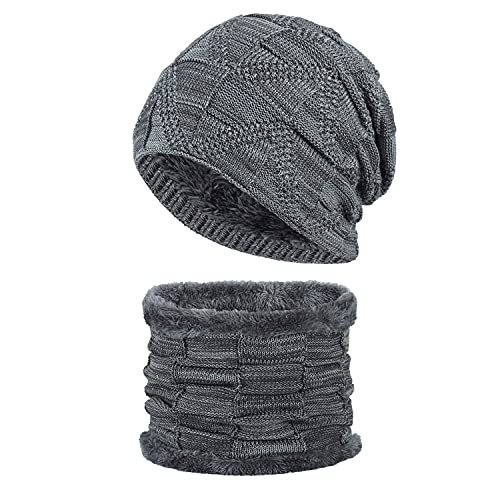 Shulltji Beanie Mütze Herren Damen Warm Bequem Wintermütze mit Weicher Plüsch Loop Schal Mützen Set