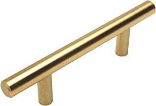 25 Pack - Cosmas 305-030BB Brushed Brass Cabinet Hardware Euro Style Bar Handle Pull - 3