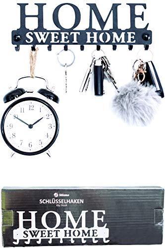 Colgador de llaves y percha para abrigos - Ahorre tiempo con este perchero de llaves y colgador de abrigos Ganchos de pared en negro satinado - Colgador para abrigos de pared 9 Ganchos 25 x 8.5 cm