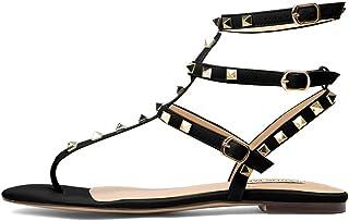 6bd7d8875627 Chris-T Womens Open Toe Mules Sandal Flats Studs Flip-Flops Strappy Studded  Block