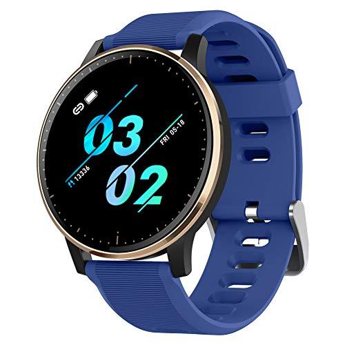 Padgene Smartwatch, Smartwatch, wasserdicht IP67, Fitness-Armband mit Pulsmesser, Schlafüberwachung, Musiksteuerung, Anrufbenachrichtigung, für Android und iOS (Blau)
