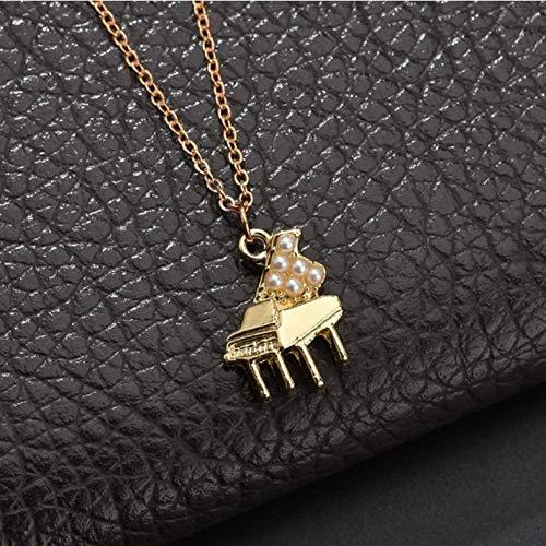 Lege Piano Vorm Vrouwen Muzikaal Instrument Hanger Goud Kleur Ketting Mode Sieraden Vriendin Gift