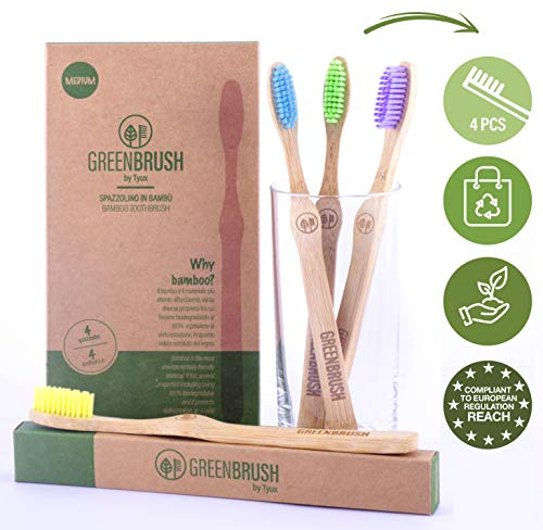 Spazzolino Bamboo (Set 4 pz) Con Setole Medie Colorate Senza Bpa. Regali Ecológici, Riciclabili, Ecosostenibili. Zero Waste. Idee Regalo 2020   Greenbrush