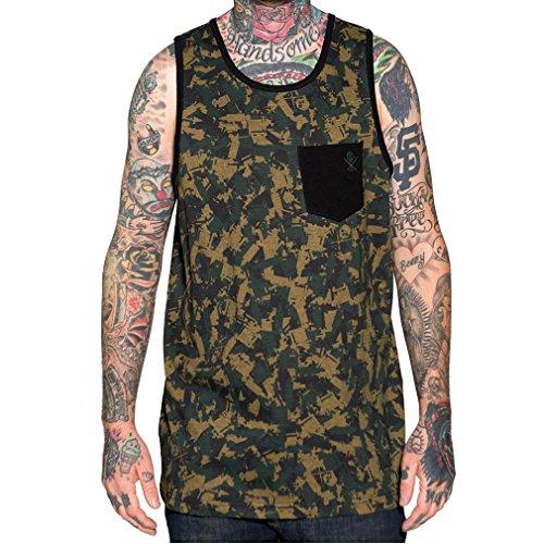 Sullen Art Collective Débardeur sans manches pour homme Motif camouflage - Vert - M