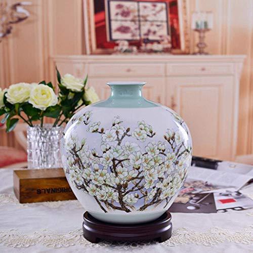 JKL Keramik Magnolien Vase Kunst Wohnzimmer Home Decoration Spring Blossom Open Geschenk Dekoration Porzellan Handwerk