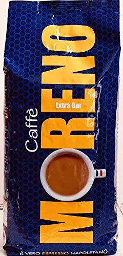 Moreno Extra Bar typisch napoletanisch 1 Kg ganze Bohne mild-herber Geschmack durch hohen Robusta-Anteil