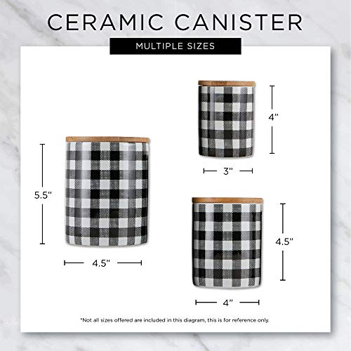DII Kitchen Accessories Collection Ceramic Set, Black, 3 Piece, canister set