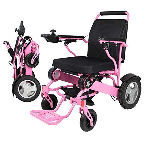 Rolstoelen lichte en opvouwbare intelligente elektrische rolstoel met een gewicht van 180 kg voor oudere en gehandicapte mensen. roze