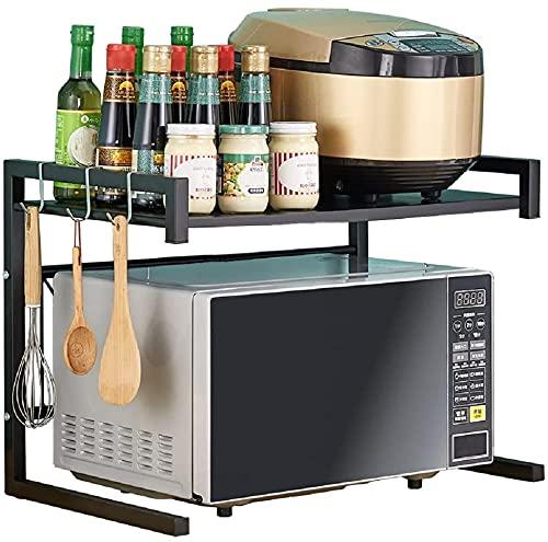 Rejilla para Horno Microondas, Estante De Cocina De 2 Niveles Y Organizador con 3 Ganchos, Color Negro