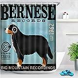 Chenghao's shop Cortina De Ducha Bernese Auriculares San Bernardo Perro Divertido Tela De Baño Impermeable para Hombres Arte Decoración De Bañera 120 (W) X180 (H) Cm